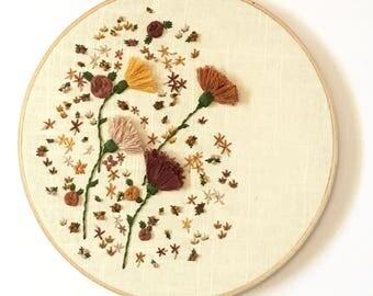 "Wildflowers Hand Embroidered 11"" Hoop"
