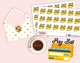 Pay My Bill Planner Stickers,  Bill Reminder Sticker, Bill Pay Stickers for Planners, Bill Payment, Cute Kawaii Sticker, Planner Accessory
