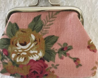 Vintage Inspired Pink Floral Coin Purse