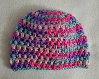 Puff stitch crochet beanie