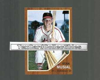 Stan Musial St. Louis Cardinals 1962 Style Custom Made Baseball Card. Mint Condition. 3 1/2 x 2 1/2