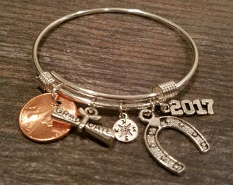 2017 Graduation Bangle, Graduation Gift, Graduation Diploma, Compass Charm, 2017 Charm and Your Own 2017 Lucky Penny, Horseshoe Charm
