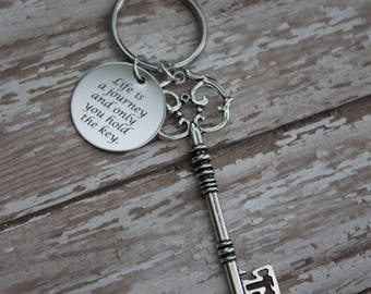 Life Is A Journey And Only You Hold The Key- Ispirational Saying, Silver Skeleton Key, Key Chain, Personalize It With A Swarovski Birthstone