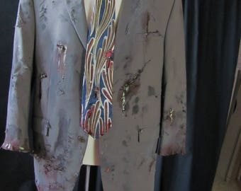 bloody zombie coat & tie (44R), zombie businessman, zombie costume, coat, bloody, undead, living dead, halloween costume, zombie suit. #1