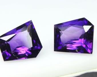 19.10 CT Natural Amazing Purple African Amethyst 2 Piece Fancy Shape Cut Loose Gemstone