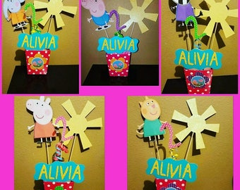 Peppa pig centerpieces, peppa pig birthday party, peppa pig decorations