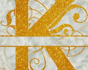 Glitter Texture Split Monogram Digital Paper