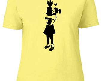 Banksy Girl With Bomb Women's Fitted T-Shirt