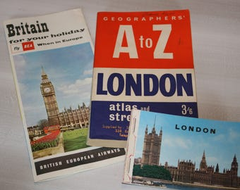 ON SALE Thru Sept. 1 /London Travel Ephemera / Vintage Travel Ephemera / Vintage Maps