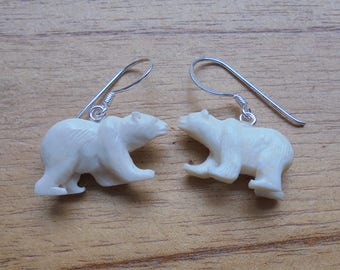 1 Pair Polar Bear Earrings, Bear Carving Bali Bone Jewelry with 925 Sterling Silver Hook BE 02
