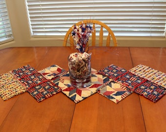 Patriotic Rag Quilt Table Runner