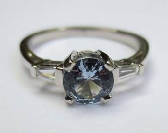 Vintage Platinum Diamond & Aquamarine Engagement Ring