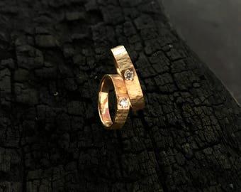 Palu Style Gold Ring 22K with 0.11 ct Diamond