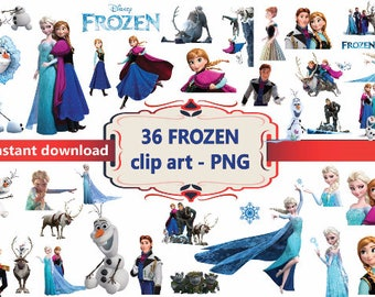 INSTANT DL- 36x frozen Disney Clipart - printable Digital Clipart Graphic Instant Download