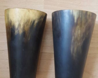 Scottish a pair of  Bovine  Cow Horn Beakers Mid 19c
