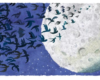 Illustration the Moon and bats
