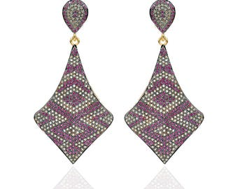 Diamond Pave  Earrings with Ruby