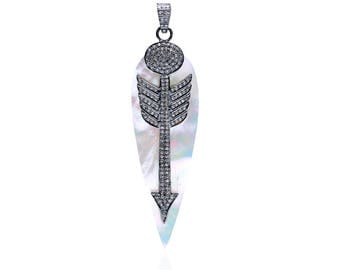 Diamond Pendant with Arrow over Mother of Pearl