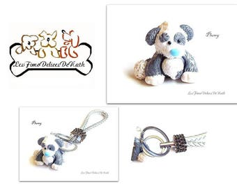 Key ring jewel small dog Plumy fimo