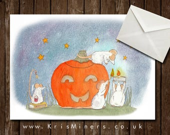 Whimsical Halloween Greetings Card - Lighting the Pumpkin