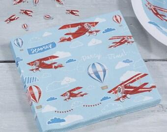 Flying High, Vintage Plane Paper Napkins, Birthday Party, 1st Birthday, Aeroplane tablewear, Plane Party, Paper Napkins, Plane Napkins