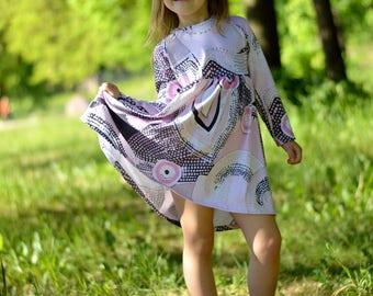 Girls dress, pink dress, casual dress, dress with reflector, cotton dress, urban dress