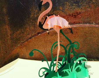 Flamingo Pop Up Card - Pop Up Flamingo card - Pop Up Bird Card - Hand Finished Flamingo Pop Up Card