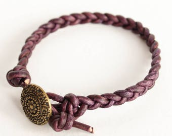 Dark Purple Braided Leather Bracelet • leather braided bracelet • leather wrap bracelet • B1DP004