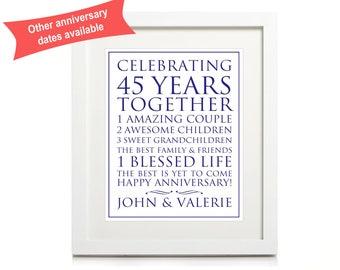 45th Anniversary Personalised Print