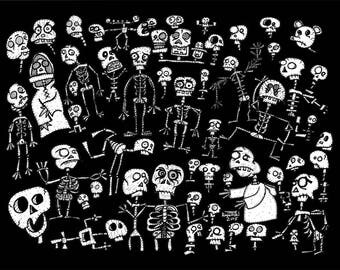 SKULLZ & SKELLIES - cute cartoon skeleton and skull art print - weirdo monster