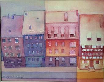 Original watercolor painting, German houses, Modern wall decor