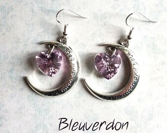 """Moons and hearts """"I love you to the moon and back"""" earrings"""