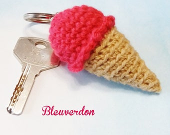 Keychain hand crocheted raspberry ice