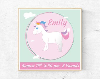 Birth Certificate, Unicorn, baby shower gift, baby gift nursery, Baby Room Decor, Birth Announcement, custom Baby Birth, Newborn Baby gift