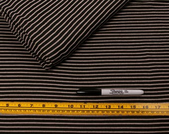 5 Yards, Fabric, Black and Off-White Stripe , Lightweight Cotton, T-shirt, Stripes, Beige