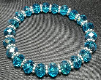 Blue Crystal Bracelet, African Crystals