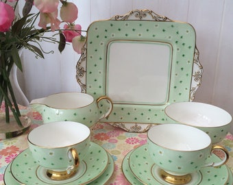 1930's Vintage Paragon Pastel Green Tea for Two