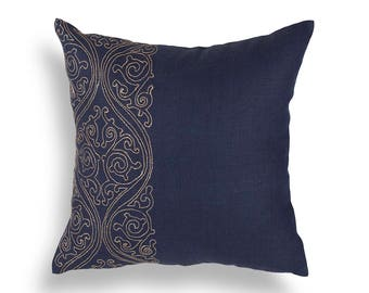 Midnight Sky - hand embroidered cushion cover, 100% linen