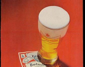 1974 original magazine print ad for Budweiser beer