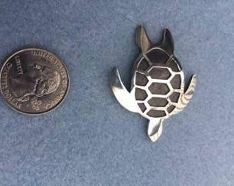 Sea Turtle Pendant Sterling Silver