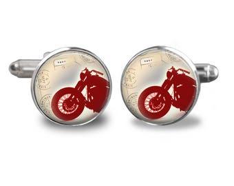 Motorcycle cufflinks biker cufflinks bike cufflinks motorcycle lover gift mens cufflinks glass cufflinks silver cufflinks mens cuff links
