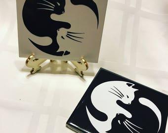 Ceramic tile (set of 2 tiles) Ying Yang Cat