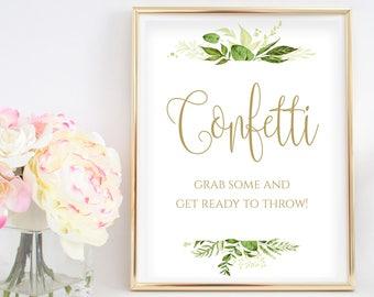 Confetti Toss Wedding Sign Wedding Confetti Bar Wedding Confetti Station Wedding Reception Signs Instant Download 8x10, 5x7, 4x6 Greenery