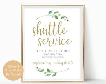 Printable Shuttle Sign Shuttle Service Sign Shuttle Service Sign Printable Wedding Shuttle Sign Carriages Sign DIY 4x6, 5x7, 8x10 Jasmine