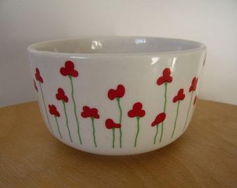 Poppies Vintage dish / bowl / small pot / sugar bowl