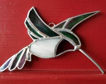 Hummingbird, Stained Glass Ornament, Sun Catcher, iridescent, Home decor, Christmas ornament
