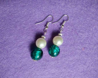 Turquoise glass and pearl drop earrings