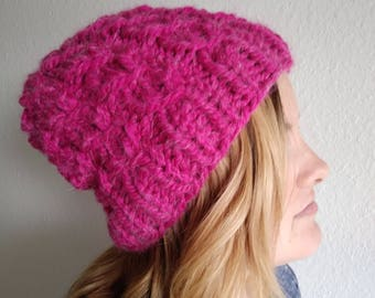 Raspberry Pink Beanie Hat Slouchy Chunky Wool Hand Knit