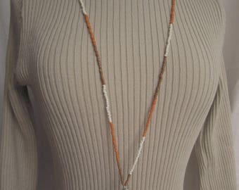 seed Bead Necklace and stylized heart pendant