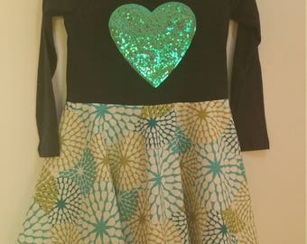Size 6 L/S Sequined Heart Dress
